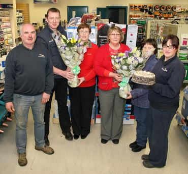 At a presentation in Glanbia Campile last Tuesday to two members of staff who have retired were left to right Thomas Drought, Robert Furlong Branch Manager, Mary Weafer Duncannon who has retired after 42 years service, Mary Murphy Campile who has retired after 41 years service, Margaret Waters and Jane Drought