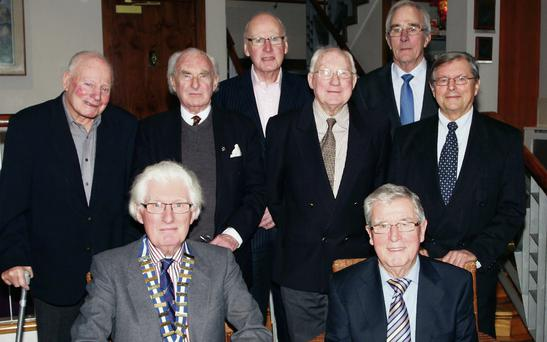 Back row: past presidents Bob Coote, Tony O'Connor, Pat Fitzgerald, Tom Cadogan, John Shorten and Davy Pearce; front: Alan Thurnston (president) and Bart Curtis (vice president)