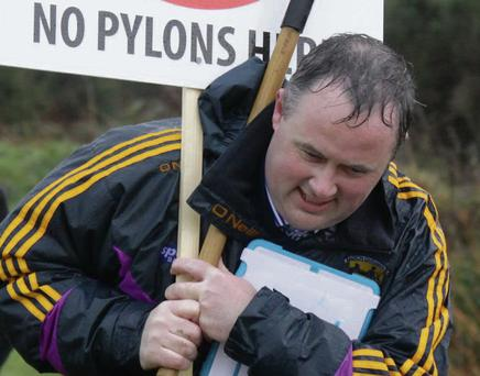 Des O' Neill protests against pylons at Vinegar Hill