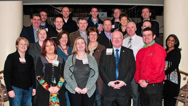 Members of the BNI Falcon Chapter in Gorey celebrating their fifth anniversary.