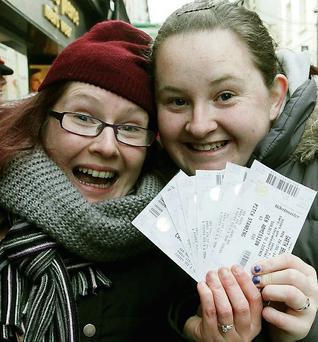 Lucky fans with tickets Sisters Michelle and Gemma Coughlan from King Street