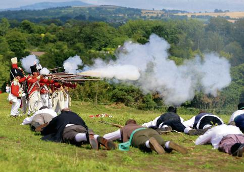 The Redcoats firing at the Pikemen at the Battle of Vinegar Hill re-enactment last year.