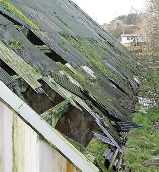 A roof at the Albatros site after it was damaged during the recent storms.