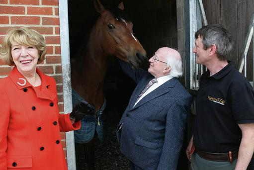 The President and Mrs Sabina Higgins met head farrier, Eugene Cullen.