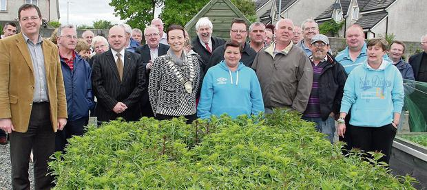 Front center Chairperson of New Ross UDC Cllr Niamh Fitzgibbon with guests at the official opening of the allotments in the Irishtown last Friday
