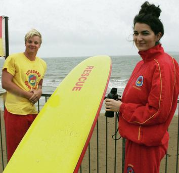 Lifeguards at Duncannon Beach on Friday were David Stebbing and Madalina Craciun