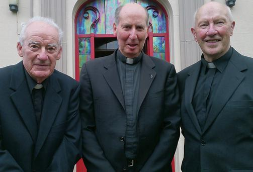 Bishop Brennan with Fr Nicholas Power and Fr James B Curtis, who are both celebrating their 60-year jubilees.