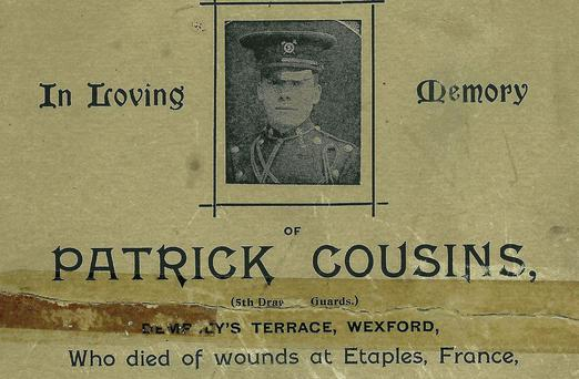 A notice in memory of Patrick Cousins of Wexford, who was killed in France on January 4, 1916.