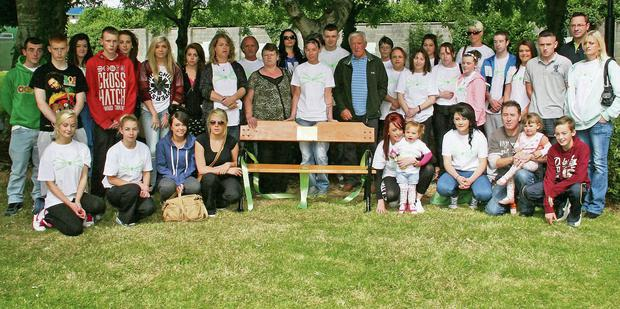 Some of the attendance at the unveiling of the seat in memory of the late Shane Cotton in New Ross Town Park