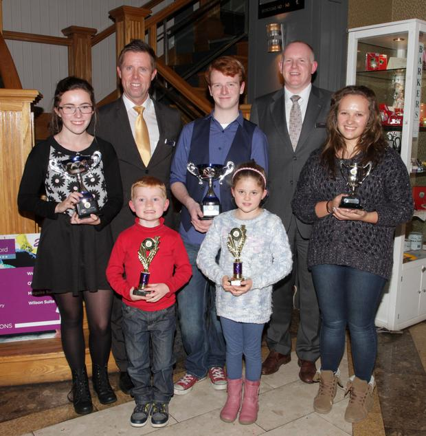 Young artists were rewaeded for their efforts when the winners of the 'Talbot Wexford Artist of the Year Competition' received their awards (from left) Aoibhinn Kinsella (Gorey Community School), Paul Carr (Talbot Hotel), Steven McGinley (Tombrack), David Monaghan (Gorey Community School), Dione Bright Bergin(Tombrack), Dick Walsh(Talbot Manager) and Janne Strydom (Gorey Community School)