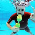 Cathal Redmond trying out his Express Dive invention, which was the runner up at the international 2015 Dyson Design competition