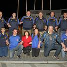Geraldine O'Hanrahan GAA Club members at the launch of the world record attempt at wrist holding at the JFK Monument last Thursday night