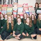 St Mary's TY students with their festive shoeboxes