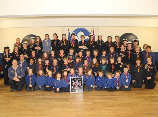 Members of the New Ross Sea Scouts and their leaders at their group investiture in the Scout Hall
