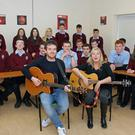 Justin Cullen and Leslie Dowdall at a song workshop with transition year students in New Ross CBS Secondary School last Monday