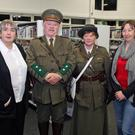 Celestine Murphy, Ray and Bridget Murphy with librarian Trish Keenan
