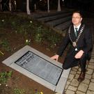 Chairman of the New Ross Municipal District, Cllr Michael Sheehan, at the embedded Proclamation at the Three Bullet Gate