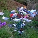 Bag loads of rubbish were dumped at the Booley Bay entrance