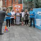 Council chairman Tony Dempsey aims to make a point at the launch of the GLT gum litter education campaign last week.