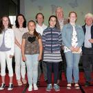 Fifth and sixth class award recipients. Back: Cliona Connolly (Wexford County Council), Nicholas Egan, Cllr Paddy Kavanagh and artist Don Conroy. Front: Amy Barrett (Shielbaggan NS), Wiktoria Zaremba (Our Lady of Lourdes, Bunclody), Laura Ciocan (Scoil Naomh Maodhóg, Ferns) and Kate Freeman (Oylegate NS)