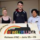 Leah Dugdale, Woody Bennett and Carmen Sanchez, who are helping out with the organisation of the upcoming event Bewellvillage in Raheen Family Resource Centre