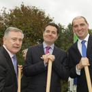 All smiles at the sod turning for the Enniscorthy bypass last year: Ministers Brendan Howlin, Paschal Donohoe and Paul Kehoe