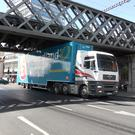 Irish Rail says bridge strikes such as this from 2015 are on the rise, and urge truckers to 'wise up'. Pic: Irish Rail