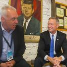 Boston Globe columnist Kevin Cullen and former Maryland Governor Martin O'Malley at the Kennedy Homestead in Dunganstown