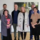 Artists with Council and Arts Centre staff at the launch of the Living Arts project taking place in four primary schools