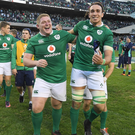 Tadhg Furlong celebrates with Ireland teammate Ultan Dillane after defeating the All Blacks in Chicago