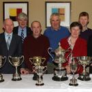 At the Sheep Breeders Association awards in The Farmers Kitchen: from left, Greg Rossiter, chairman, County Sheep Breeders Association; Michael Brennan, secretary; Pat Rossiter, Bannow; Tom Kehoe, Castledockrell; Ann Murphy, Belcarrig, Gorey; Brendan Fitzpatrick, Ballywilliam; Willie Gleeson, Fethard, and Tom Rossiter, Bannow