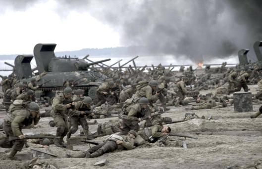 A scene from 'Saving Private Ryan' filmed on Curracloe Beach, with 750 members of the FCA acting as extras
