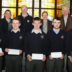 Students with Sharon Murphy, Myles Courtney, Mary Browne and Mick Seale of the Lions Club