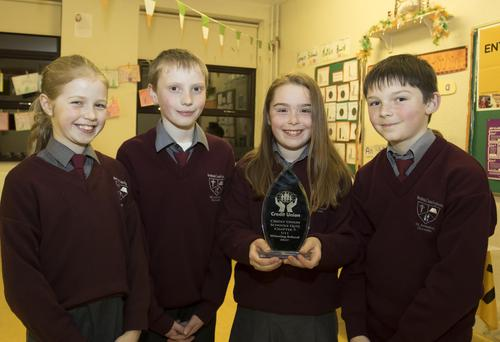 The Donard NS quiz team who have qualified for the Credit Union All-Ireland quiz final pictured at the recent school open day, Bridin Quigley, 4th class; Cormac Fleming, 3rd class; Leah Murphy, 5th class and Shane Kehoe, 5th class