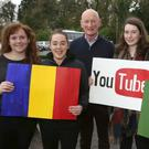Kilkenny hurling manager Brian Cody with Meanscoil Gharmain students (from left) Peig Busher, Roisin Byrne, Ciara Nolan and Rosie Whelan