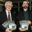 Bernard Browne who launched the books, with authors Aindi Mac Giolla Chomhghaill and Conchubhar Ó Crualaoich