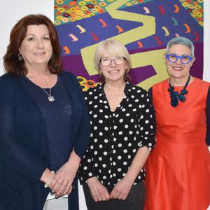 Artists Grainne Watts, Cecelia Moore and Angela Forte with guest speaker Angela Rolfe at the opening of the Verve exhibition in the Blue Egg Gallery on Saturday