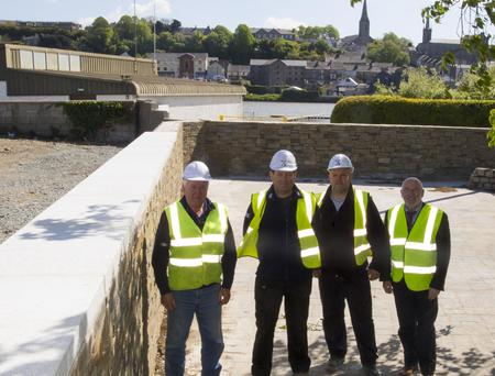 At the flood defence works at Bridge Street were Jim Thorpe, resident engineer, Wexford County Council; Padraig Treacy, project supervisor MJS; Tomasz Slonina, site engineer and Eamonn Hore Director of Services Wexford County Council