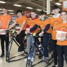 Good Counsel College Spinathon in Tesco for Suicide Awareness. From left; Luke Barrett, Graignamanagh, Adam Bookle, Cushinstown, Evan Cahill, Gusserane, Ronan Cloney, Rathnure, Noel Banville, Foulksmills, Kyle Dwyer, New Ross and Shirley Dempsey, Good Counsel College