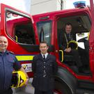 Cyril McGarr, fire chief; Paul L'Estrange, Wexford chief fire officer; and Cllr Michael Whelan