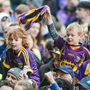 Fans celebrate on the pitch at Innovate Wexford Park after Wexford's win over Kilkenny.