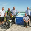 Joseph Wallace, Jean-Michel Guilband, a French cyclist on the Eurovale Route; Cllr Paddy Kavanagh, Chairman Wexford County Council; Eamonn Hore, Wexford County Council; Frank Burke, Cycling officer with Wexford County Council; Pat Caulfield, Tintern Trails; and Cllr. Willie Fitzharris.