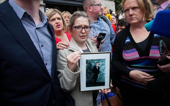 Catherine Power, sister of the late Thomas Power, at a protest at Leinster House last week