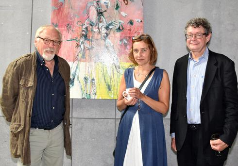Artist Declan Breen with Jenny Traynor and guest speaker Ruairi Ó Cuív
