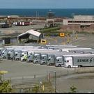 Coldplay's equipment trucks parked in Rosslare Harbour