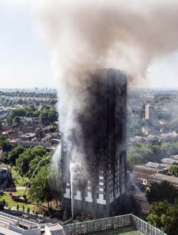 Grenfell Tower on the morning after the fire