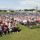 The large crowd attending Mass at the opening of the pilgrimage season at Our Lady's Island last week