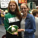 Katie Whelan (left) receiving her international cap
