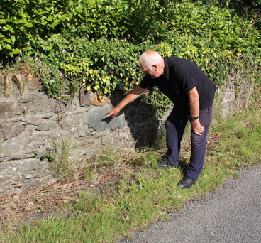 The late Dick Fortune, Ballygarrett pointing out a carving of a schooner in Clonevin