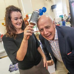 Evelyn Farrell tries her best with Bobby Kerr's hair